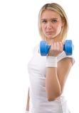 Muchacha con pesa de gimnasia Foto de archivo