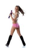 Muchacha con pesas de gimnasia Foto de archivo libre de regalías