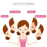 Muchacha con problemas de piel faciales Foto de archivo libre de regalías