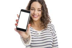 Muchacha con smartphone Imágenes de archivo libres de regalías