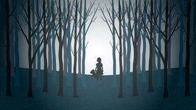 Muchacha con su caminar del oso de peluche perdido a través de un bosque espeluznante ilustración del vector