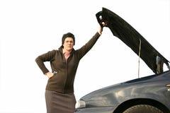 Muchacha con su coche quebrado 3 Fotos de archivo