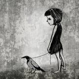 Muchacha con su cuervo Fotos de archivo libres de regalías