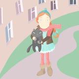 Muchacha con su gato Foto de archivo