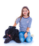 Muchacha con su Kerry Blue Terrier Fotos de archivo libres de regalías