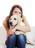 Muchacha con su mejor amigo Foto de archivo libre de regalías