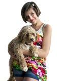 Muchacha con su perro Imagenes de archivo