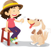 Muchacha con su perro de animal doméstico Foto de archivo