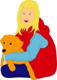 Muchacha con su perro perdiguero de oro Imagenes de archivo