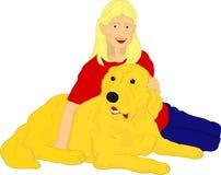 Muchacha con su perro perdiguero de oro Fotografía de archivo libre de regalías