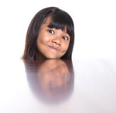 Muchacha con su reflexión X de la cara Fotos de archivo