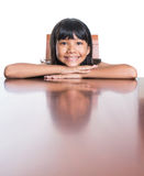 Muchacha con su reflexión II de la cara Imágenes de archivo libres de regalías