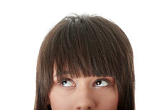 Muchacha con sus ojos que miran izquierda ausente Imágenes de archivo libres de regalías