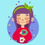 Muchacha con té de consumición del pelo púrpura con el buñuelo Fotos de archivo libres de regalías