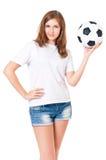 Muchacha con un balón de fútbol Foto de archivo