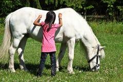 Muchacha con un caballo blanco en Dinamarca Imágenes de archivo libres de regalías