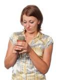 Muchacha con un cacto Fotos de archivo libres de regalías