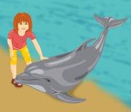 Muchacha con un delfín Fotografía de archivo