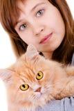 Muchacha con un gato Fotos de archivo libres de regalías