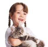 Muchacha con un gato Foto de archivo libre de regalías