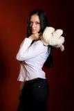 Muchacha con un juguete-ratón Imagenes de archivo