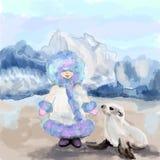 Muchacha con un lobo marino Imagen de archivo