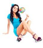 Muchacha con un lollipop Foto de archivo libre de regalías