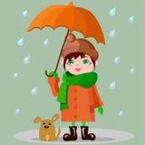 Muchacha con un paraguas y un perrito Imagen de archivo libre de regalías