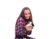 Muchacha con un perrito del juguete en las manos Fotografía de archivo libre de regalías