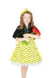 Muchacha con un ramo de tulipanes Fotos de archivo