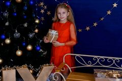 Muchacha con un regalo en el árbol de navidad fotos de archivo libres de regalías