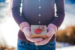 Muchacha con un regalo en sus manos Imagen de archivo