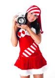 Muchacha con un reloj de alarma Imagen de archivo libre de regalías