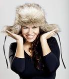 Muchacha con un sombrero de piel Imágenes de archivo libres de regalías