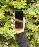 Muchacha con un teléfono celular contra un fondo del follaje Imagenes de archivo