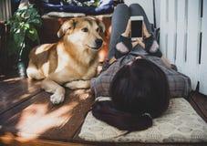 Muchacha con un teléfono y un perro que mienten en la terraza Imágenes de archivo libres de regalías