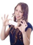Muchacha con un trozo de papel llamado Fotos de archivo