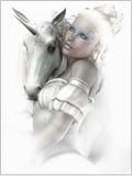 Muchacha con un unicornio Imagenes de archivo