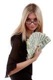 Muchacha con un ventilador de las cuentas de dólar Fotos de archivo