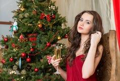 Muchacha con un vidrio de champán en el árbol del Año Nuevo Fotos de archivo
