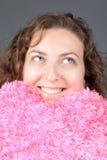 Muchacha con una almohadilla Fotos de archivo libres de regalías
