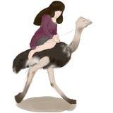 Muchacha con una avestruz Fotos de archivo libres de regalías