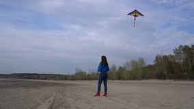 Muchacha con una cometa en la orilla almacen de metraje de vídeo