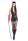 Muchacha con una espada Imagenes de archivo