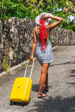 Muchacha con una maleta amarilla en un centro turístico Imagen de archivo libre de regalías