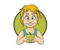 Muchacha con una manzana stock de ilustración