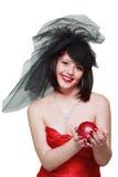 Muchacha con una manzana en su mano Imagenes de archivo