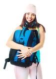 Muchacha con una mochila Imagen de archivo