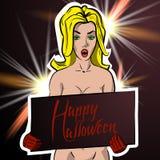 Muchacha con una muestra que felicita Halloween stock de ilustración