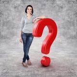 Muchacha con una pregunta Imagenes de archivo